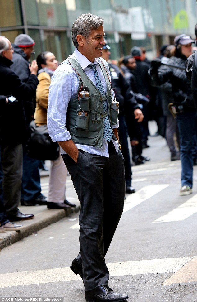 George Clooney Walking Around New York City In A Suicide Vest While Filming 'Money Monster' Friday, 24th April 2015 27F67CDF00000578-3055163-image-m-106_1429963562100