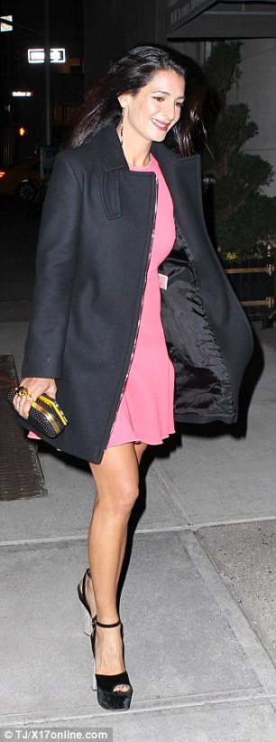 George Clooney is at his charming best as he heads out with his in-laws to celebrate glamorous sister-in-law Tala Alamuddin's birthday in New York 282F952300000578-0-image-m-7_1430469411360