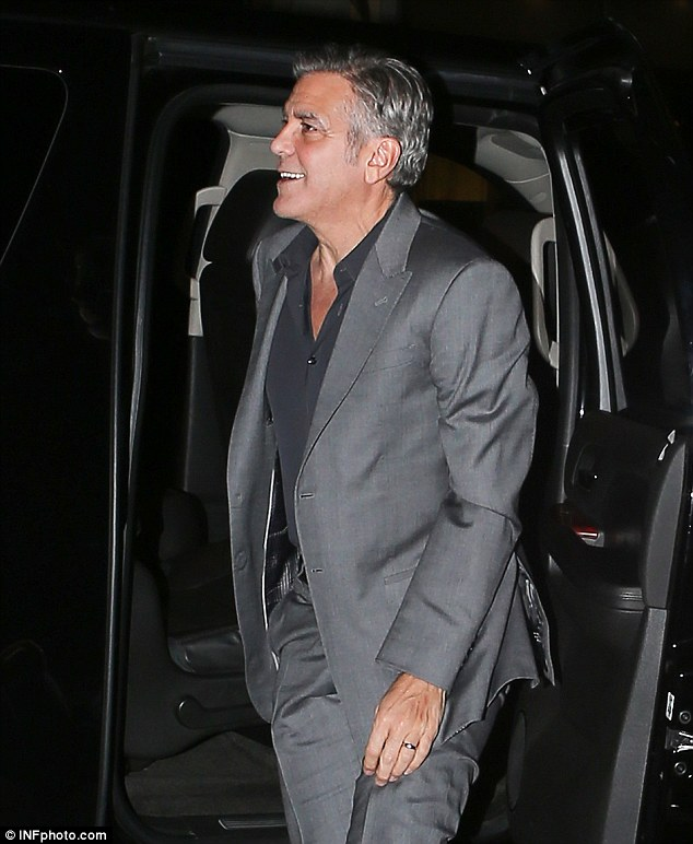 George Clooney is at his charming best as he heads out with his in-laws to celebrate glamorous sister-in-law Tala Alamuddin's birthday in New York 283124F700000578-0-image-a-10_1430469466839