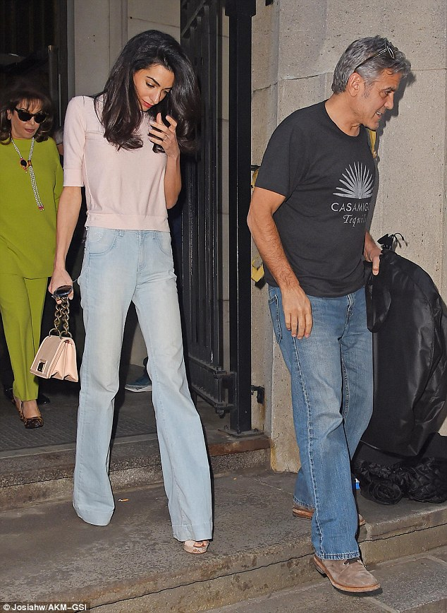 Bring your in-laws to work day! Amal Clooney takes her family to visit George on set of Money Monster  2nd May 2015 284130CE00000578-0-Family_day_George_Clooney_right_welcomed_his_wife_Amal_and_other-m-72_1430613244498