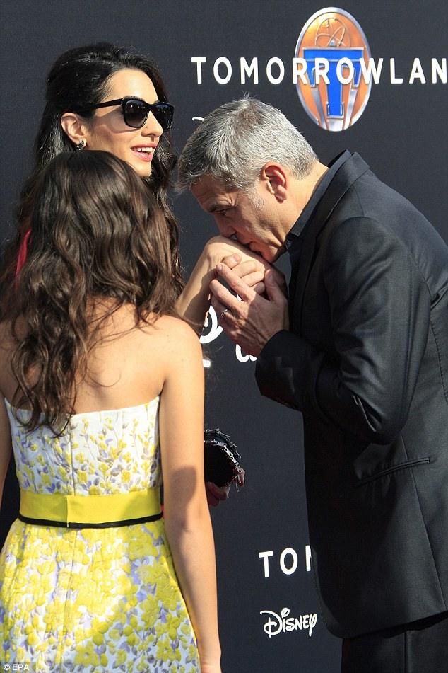 George Clooney at the TOMORROWLAND world premiere in LA Disneyland 9th May 2015 2883703700000578-3075296-image-a-28_1431227715135