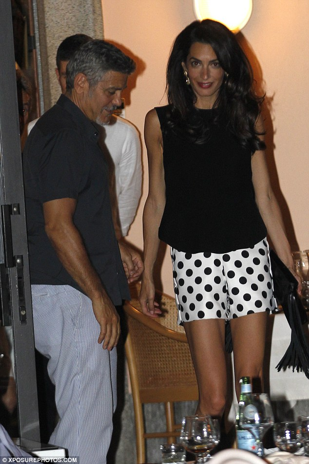 George Clooney has a laughing fit as he steps out for romantic date with his leggy wife Amal in Lake Como - 23. July 2015 2AC333B200000578-3171508-image-a-134_1437610305450