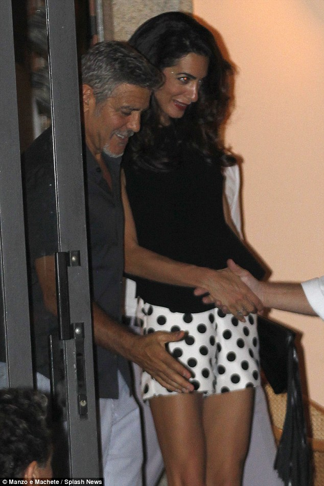 George Clooney has a laughing fit as he steps out for romantic date with his leggy wife Amal in Lake Como - 23. July 2015 2AC33A0100000578-3171508-image-a-131_1437610279149
