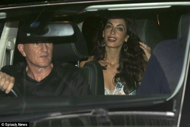 George Clooney, Amal, Rande and Cindy Gerber at the Es Torrent restaurant in Ibiza 22. August 2015 2B969F6600000578-0-image-a-48_1440297212823