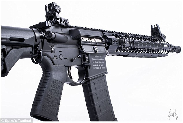 Florida gun makers design assault rifle with Bible verse and cross etched on each side so 'Muslim terrorists won't use it' 2BF332AF00000578-3221602-image-a-1_1441313172447
