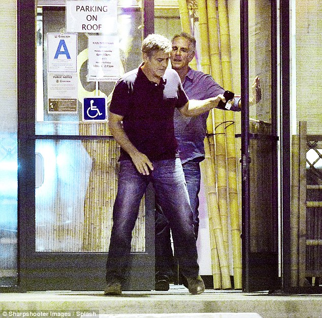 George Clooney and his friend out for dinner at Kazu Sushi in Studio City with his Corvette 17. Sept 2015  2C8BC42900000578-3242339-image-a-39_1442773732810