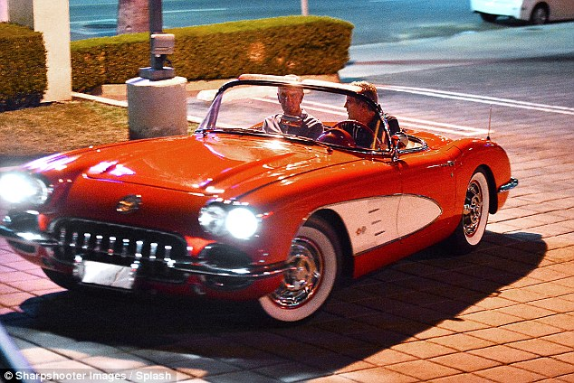 George Clooney and his friend out for dinner at Kazu Sushi in Studio City with his Corvette 17. Sept 2015  2C8BC60800000578-3242339-image-a-38_1442773686980