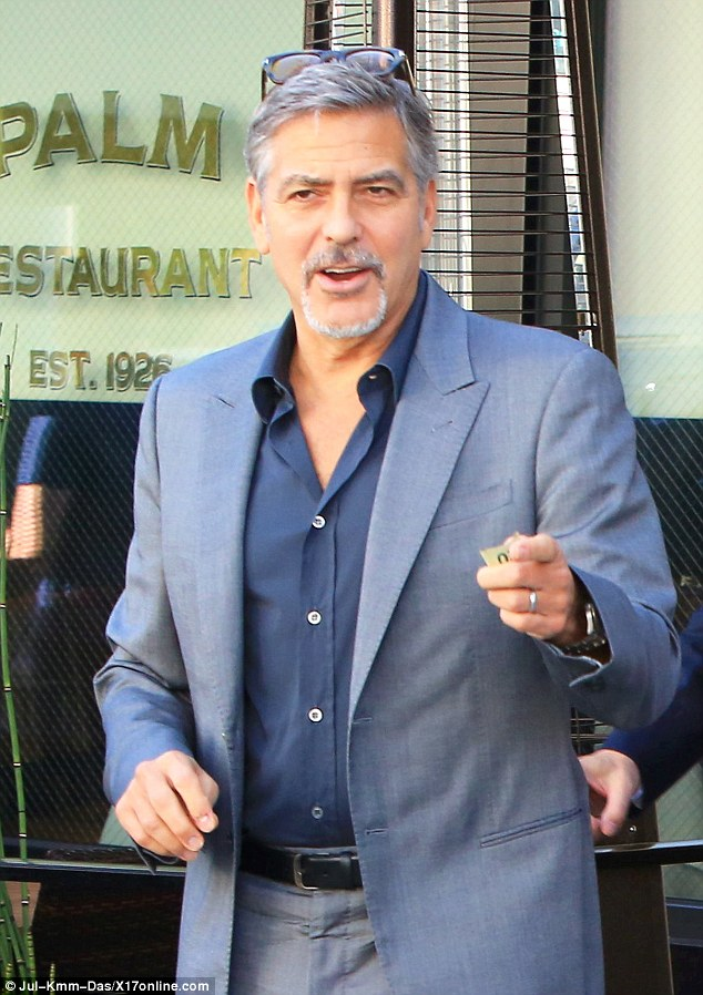 George and Amal lunch with David Milliband in Beverley Hills Oct 22 2015 2DAE15BF00000578-3285555-image-a-133_1445561305200