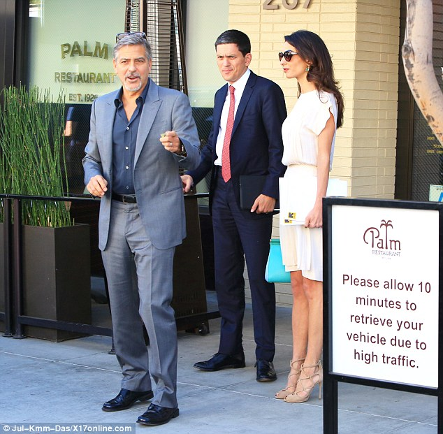George and Amal lunch with David Milliband in Beverley Hills Oct 22 2015 2DAE164300000578-3285555-image-a-135_1445561381308