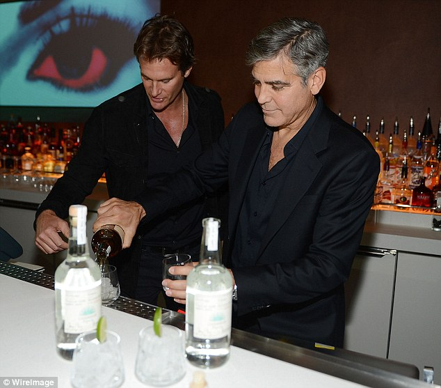 George Clooney spotted at the Tower Bar in LA to celebrate Amal's birthday 30F9D2F900000578-3436192-image-m-26_1454872960404