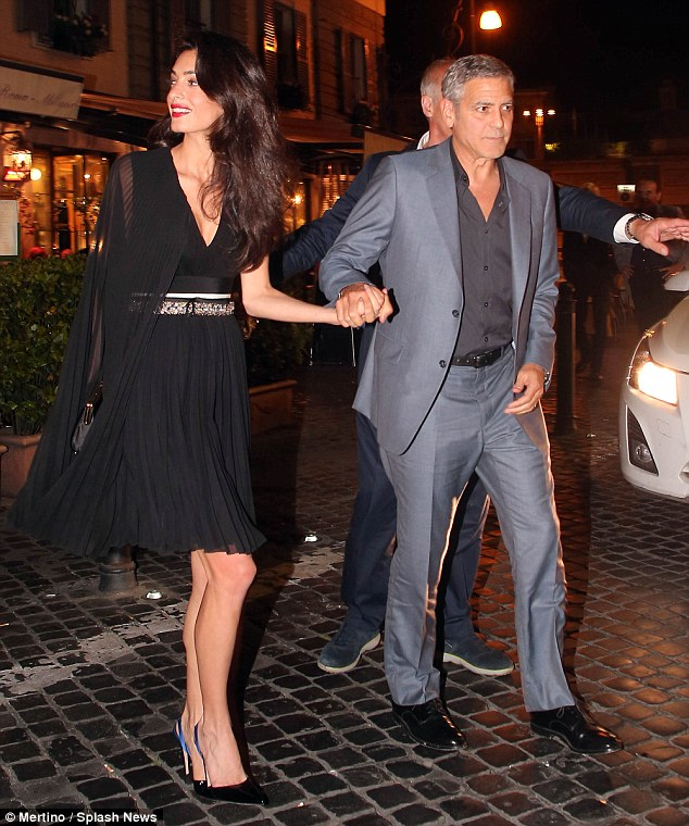 George and Amal out for dinner in Rome May 29 2016 34BE629900000578-3615139-image-m-2_1464531787352