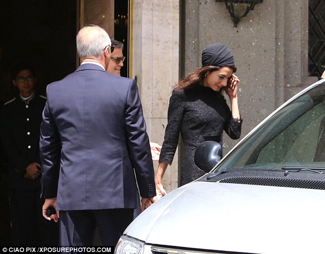 George and Amal out for dinner in Rome May 29 2016 34BF2ABF00000578-3615139-image-a-33_1464533852610