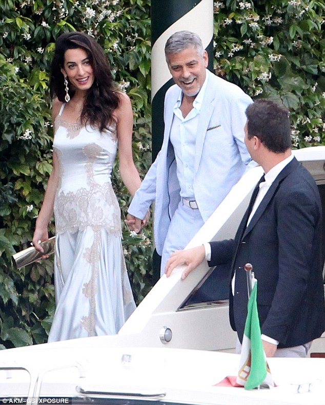 George and Amal, friends and family on way to dinner at Villa D'eEste 36369EC800000578-0-image-m-121_1468381453387