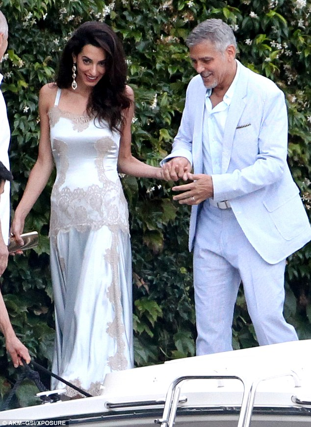 George and Amal, friends and family on way to dinner at Villa D'eEste 36369EDF00000578-0-image-m-123_1468381652615