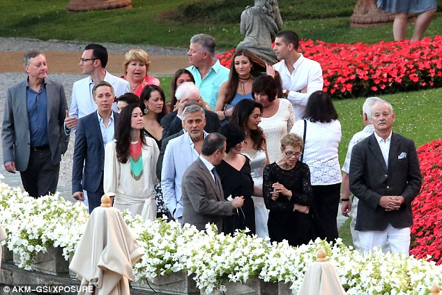 George and Amal, friends and family on way to dinner at Villa D'eEste 36369F0B00000578-0-image-a-109_1468381079481