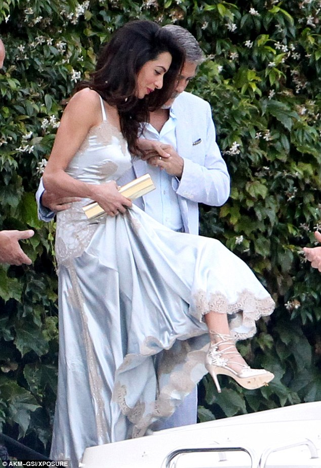 George and Amal, friends and family on way to dinner at Villa D'eEste 36369F2100000578-0-image-m-124_1468381674126
