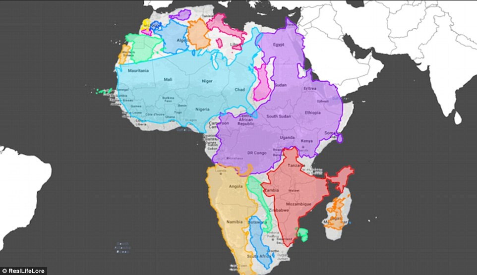 Our world maps are WRONG: Countries near the poles are distorted because it is impossible to accurately depict a sphere on a 2D surface 3753692700000578-3745016-Africa_is_much_larger_that_it_appears_on_the_map_The_US_shown_in-a-33_1471445831431