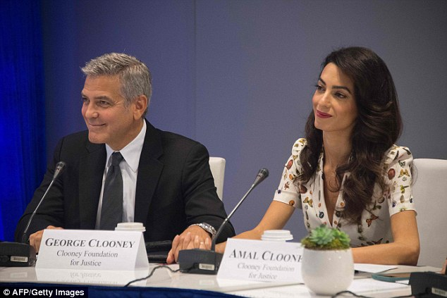 George and Amal arriving at the UN today 20.9.2016 389ED60E00000578-3798684-image-a-123_1474399787784