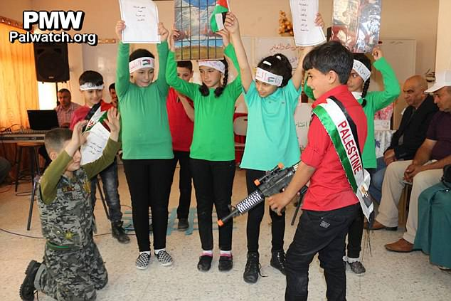 A sick new low for foreign aid: Palestinian boys and girls pretend to execute an Israeli soldier – as teachers at schools funded by YOU tell their pupils that terrorists are heroes  3E2C930900000578-0-image-a-18_1489269383161