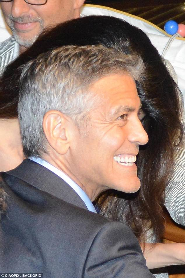George and Amal and party at Da Ivo Venice tonight 43D0A24A00000578-0-image-a-26_1504343134858