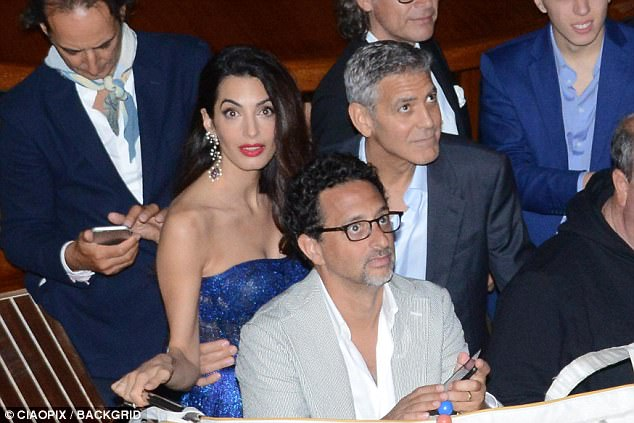 George and Amal and party at Da Ivo Venice tonight 43D0B33800000578-0-image-a-25_1504343127875