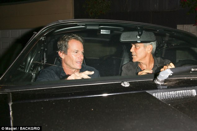 George Clooney takes a break from dad duties as he heads out for dinner with pals Rande Gerber and Bono  4462641200000578-4892448-image-a-91_1505651625024