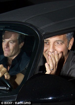 George Clooney takes a break from dad duties as he heads out for dinner with pals Rande Gerber and Bono  446274D100000578-4892448-Relaxed_The_pair_chatted_easily_as_they_headed_away_from_the_res-a-83_1505651437982