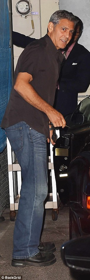 George Clooney takes a break from dad duties as he heads out for dinner with pals Rande Gerber and Bono  4462AA9A00000578-4892448-image-a-74_1505651253951