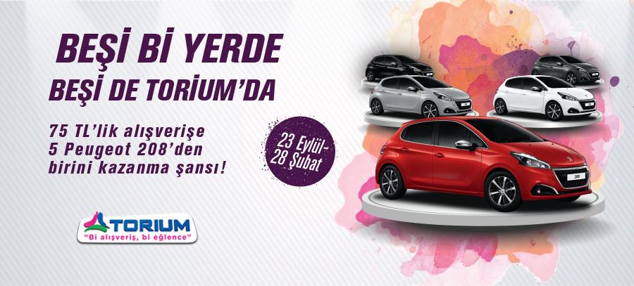 Torium AVM'den 75 TL'lik alışveriş yapın, 5 Peugeot 208'den birini kazanma şansını yakalayın! GANQNb