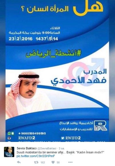 """Suudi Arabistan'da """"Kadın insan mıdır?"""" semineri! Sevra-baklaci-suudi-arabistan-kadinlar-insan-midir-afis"""