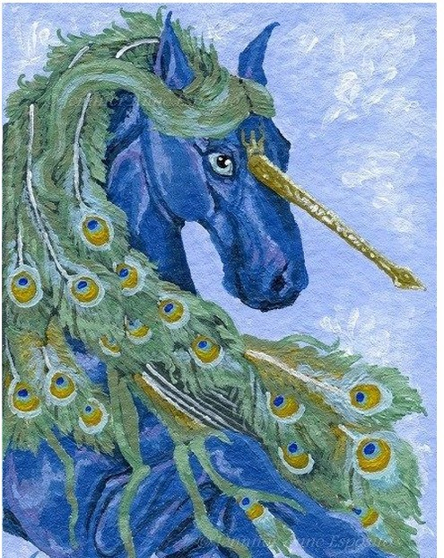 عم تتحدث الصور عن جمال الطاوس ACEO-ORIGINAL-Peacock-Unicorn-Blue-Horse-Fantasy-font-b-Whimsical-b-font-Miniature-font-b-Art