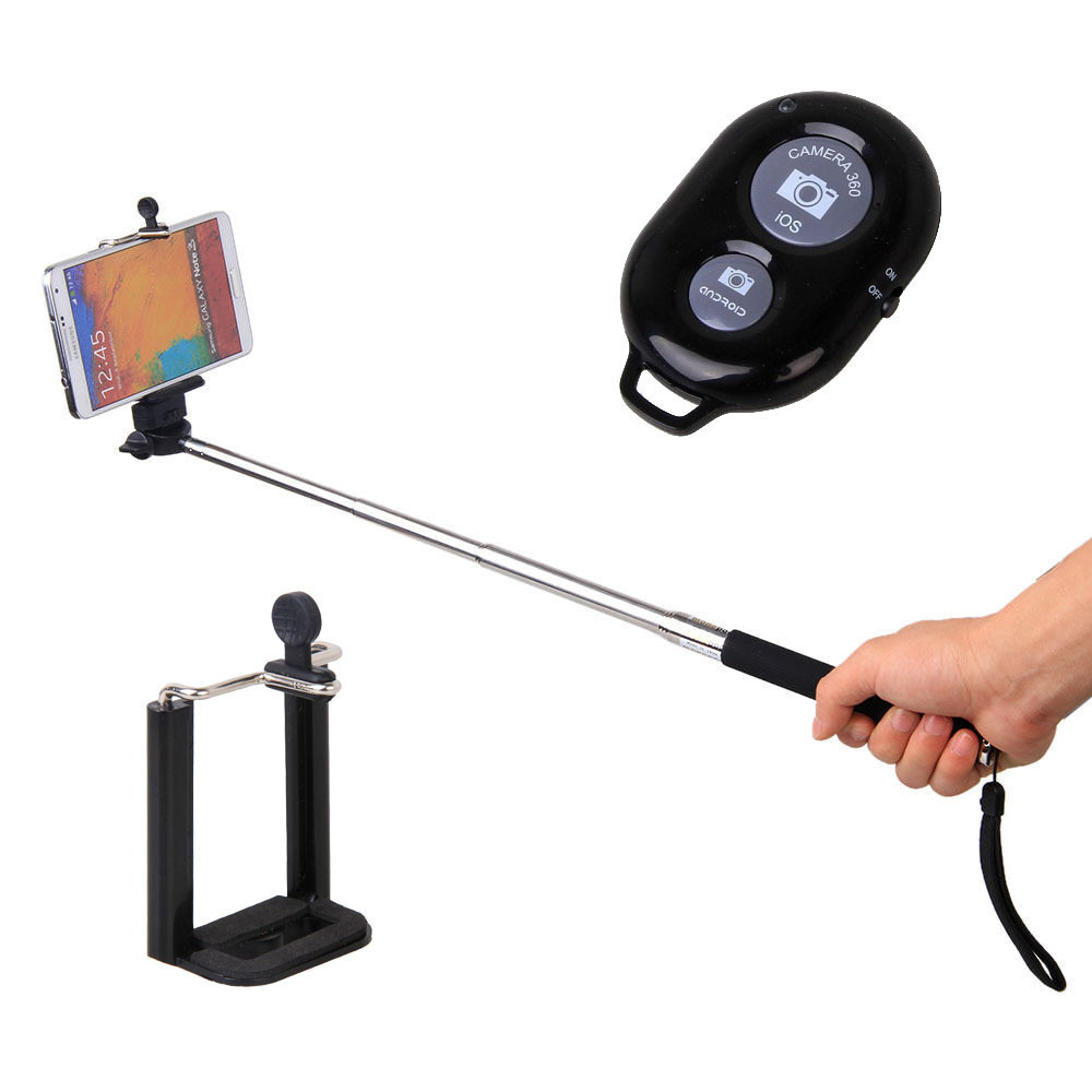 Bastones para camara o celular con bluetooth Extendable-Self-Portrait-Selfie-Handheld-Stick-Monopod-Wireless-Bluetooth-Remote-Control-for-IOS-Android-Phones-Black