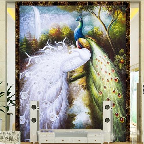 عم تتحدث الصور عن جمال الطاوس Customized-Large-Wall-Murals-Entranceway-Living-Room-Bedroom-Wall-Decor-3D-font-b-Peacock-b-font