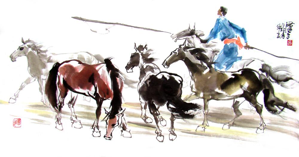 Feliz Año del Caballo de Madera -font-b-chinese-b-font-font-b-horse-b-font-font-b-painting-b-font