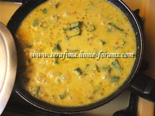 Бамия (окра)  в йогуртовом соусе по-индийски. Ladyfingers in curd dhal 38e35ad1a21d