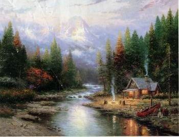 Compendio de las historias de Alegorn Forest_and_River_oil_painting