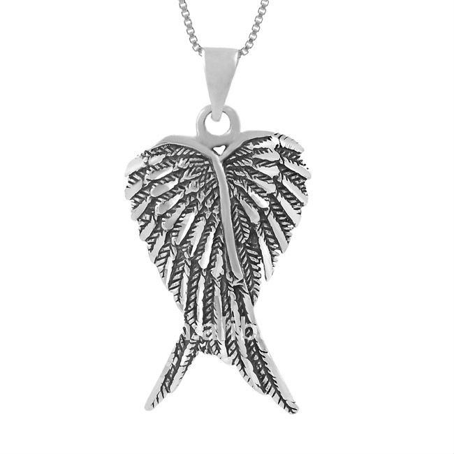 Ficha-Sumire Aria Antique_silver_two_angel_wings_pendant_necklaces