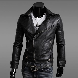 معاطف شتوية Free-shipping-2013-new-temperament-Slim-oblique-zipper-motorcycle-man-leather-jacket-korean-fashion-men-s