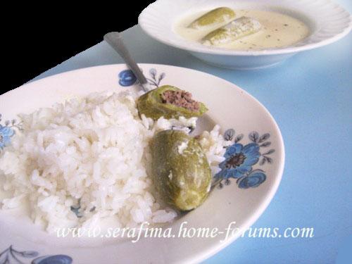 Куса макхши - фаршированные мясом кабачки в шорбе лябан. Араб.кухня Da44112c64e6