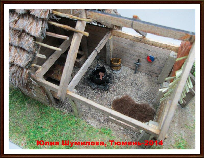 Реконструкция жилища викинга в разрезе с видом внутри, 10в., масштаб 1:100 7f6dadd6e36b
