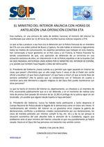 El ministerio del interior anuncia con horas de antelacion una operacion contra eta Thumb