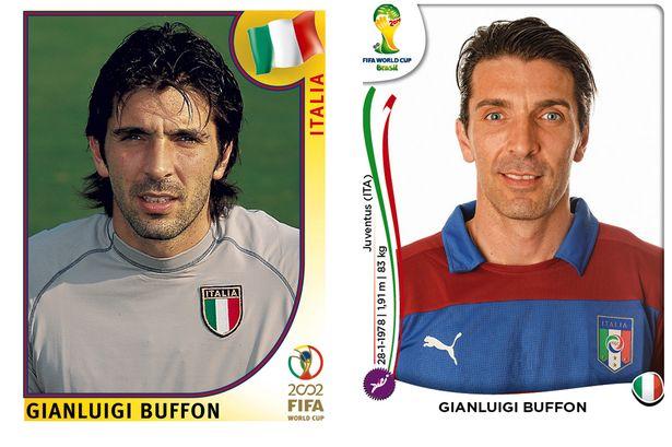 El antes y después de los jugadores de fútbol en los cromos del mundial Gianluigi-Buffon