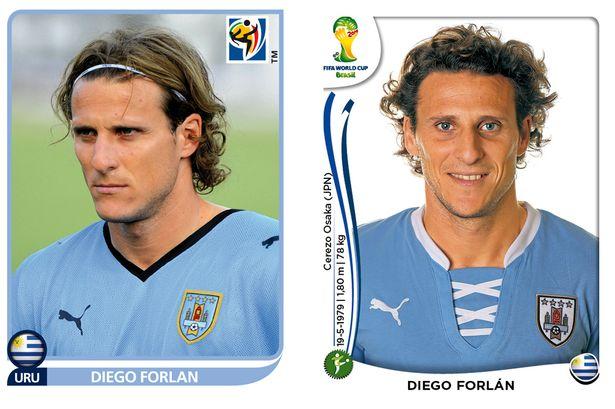 El antes y después de los jugadores de fútbol en los cromos del mundial Diego-Forlan