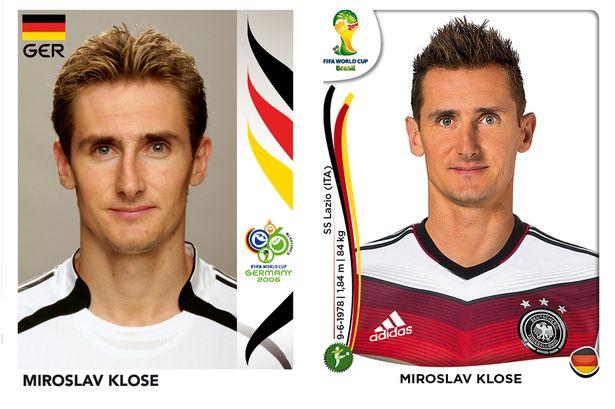 El antes y después de los jugadores de fútbol en los cromos del mundial Miroslav-Klose