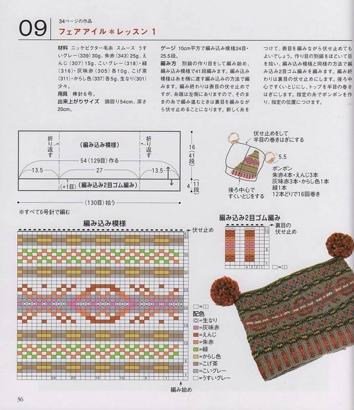 Chỉ e đọc chart đan nón này với(có 2 tai pom pom) Capmufflergloves_33
