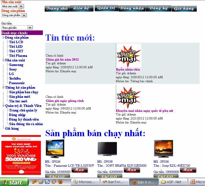 Đồ án quản lý bán hàng trực tuyến viết bằng Asp.Net + SQL 2008- Nguyễn Ích Hoàn Banhangtructuyen