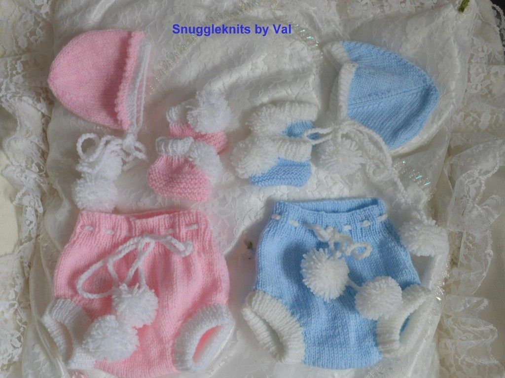 Just a few of the knits that I have been making over the past months Prem%20pom%20pom%20diaper%20set