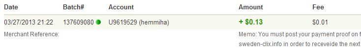 My 1st payment-Very fast, thanks admin Sweden-Clix1st2703