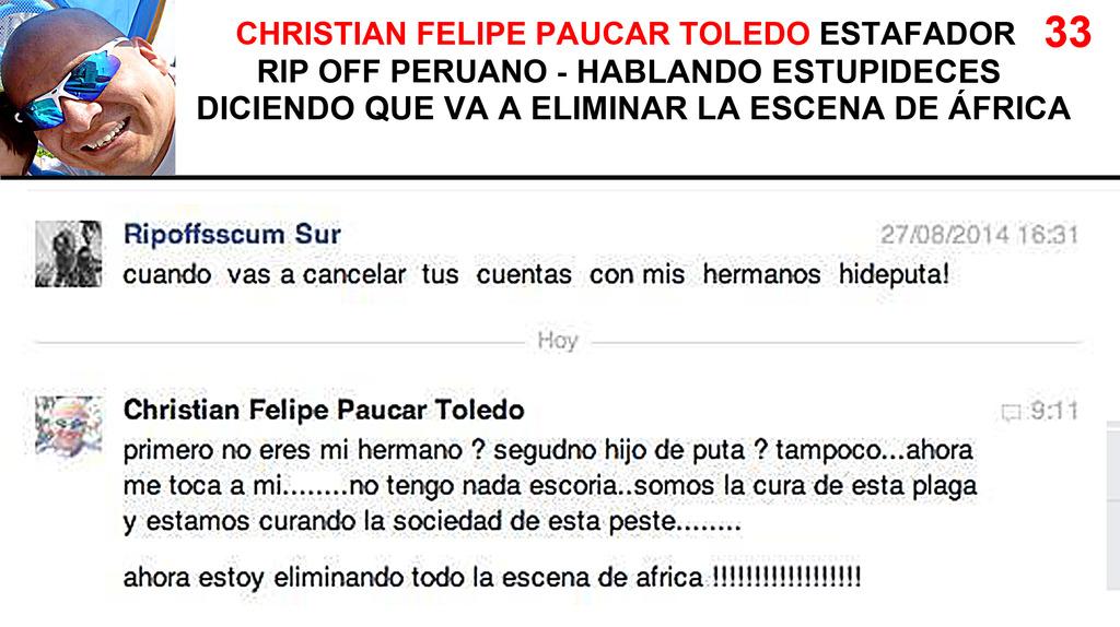 CHRISTIAN FELIPE PAUCAR TOLEDO !!! - ESTAFADOR INTERNACIONAL DE BANDAS Y SELLOS DISCOGRÁFICOS - RIP OFF ! 33%20Ripoffsscum%20Sur%20-%20sobre%20Africa_zpsibb0rmsl