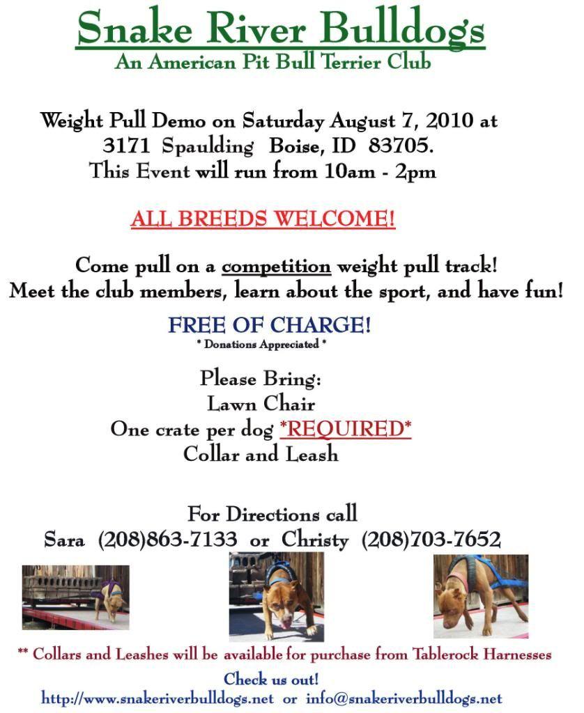 Snake River Bulldogs Weight Pull Demo 8.7.2010 SRBFlierFinal1
